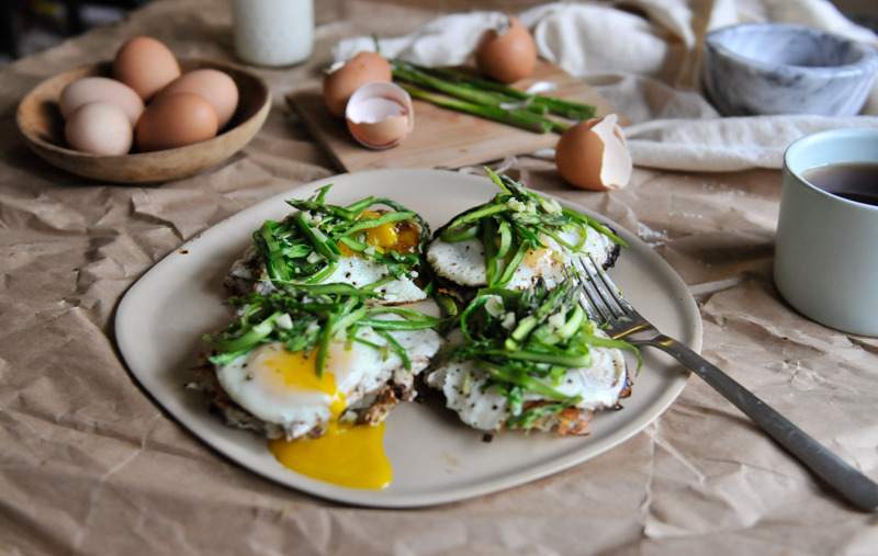 Potato Patties with Egg and Asparagus