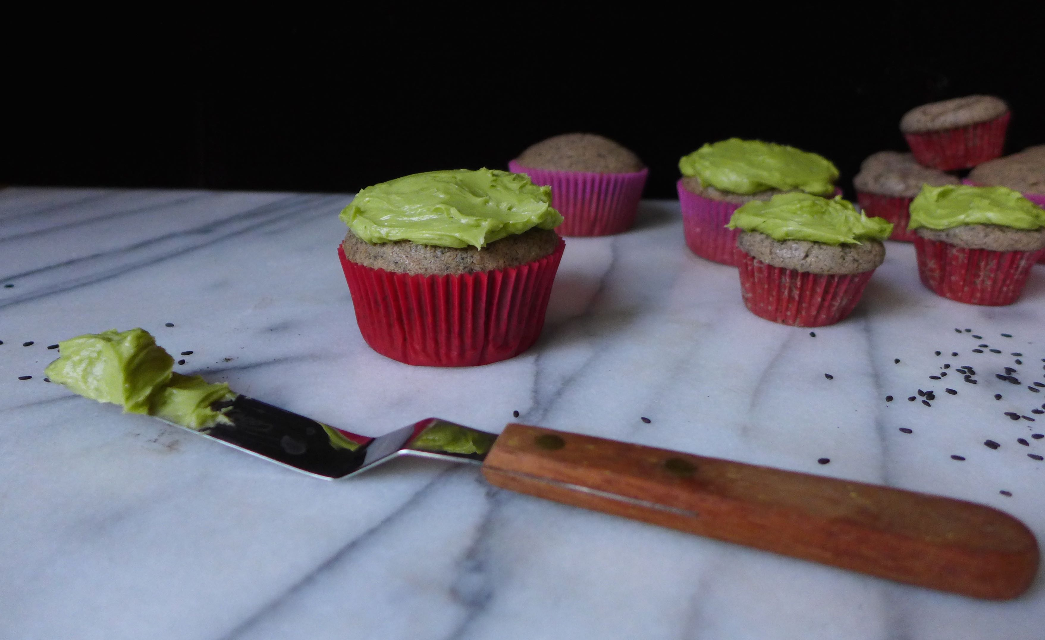 Black Sesame Cupcakes with Matcha Frosting