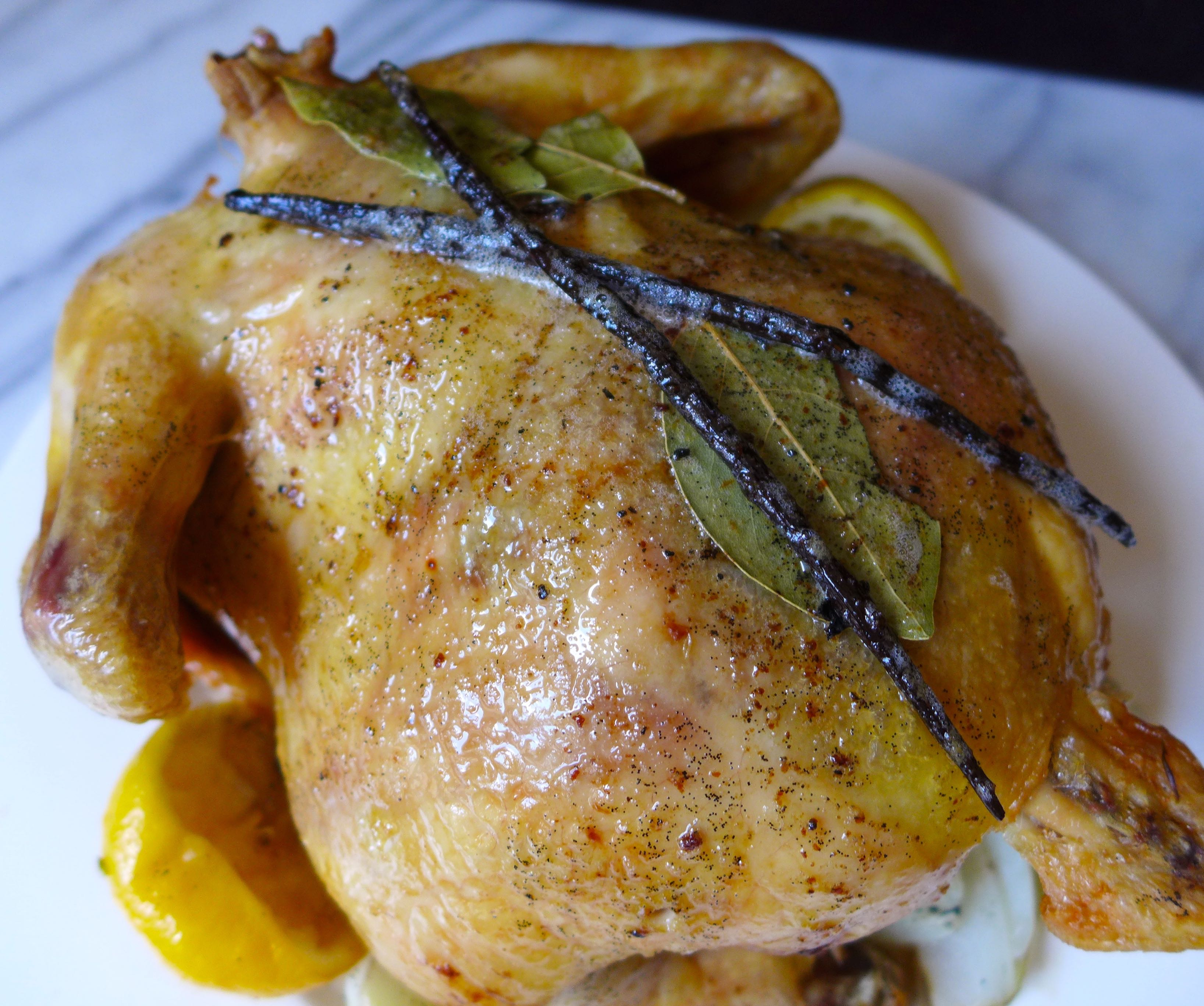 Roasted Chicken with Vanilla Bean Butter Sauce